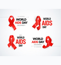 Hiv awareness logo set red ribbons with glare vector