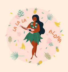 Hula singer hawaiian girl with ukulele luau vector
