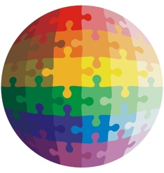 Jigsaw puzzle shape of a ball colors rainbow vector image