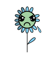 Kawaii angry flower plant with leaves and petals vector