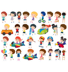 large set isolated objects kids vector image
