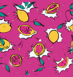 lemon fresh pop art pattern modern juicy citrus vector image