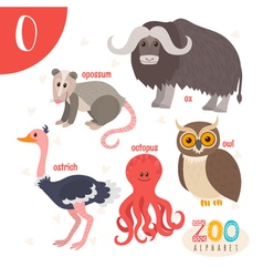 Letter O Cute animals Funny cartoon animals in vector image