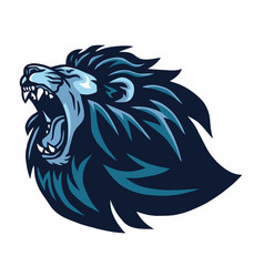Lion head roaring logo vector