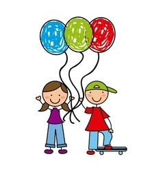 Little kids with balloons air vector