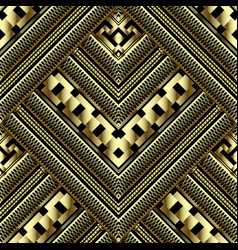 Luxury gold 3d geometric seamless pattern ornate vector