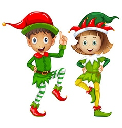 Male and female elves on white background vector
