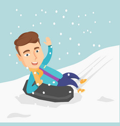 Man sledding on snow rubber tube in the mountains vector