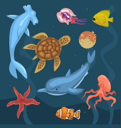 marine life ocean inhabitants sea fauna of vector image