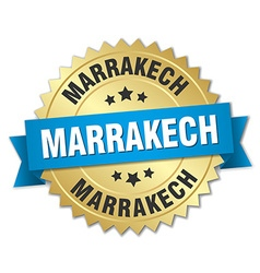 Marrakech round golden badge with blue ribbon vector