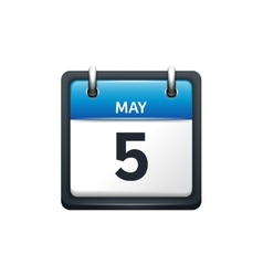 May 5 Calendar icon flat vector