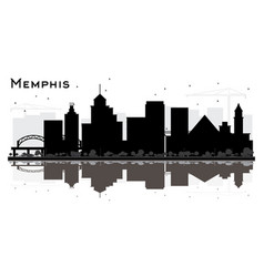 memphis tennessee skyline silhouette with black vector image