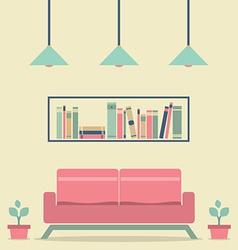 Modern Design Interior Sofa and Bookshelf vector image vector image