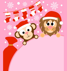 new year background card with monkey and lion vector image