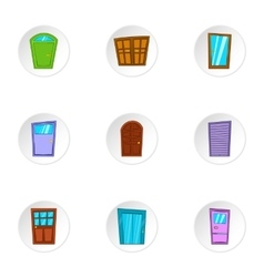 Opening icons set cartoon style vector