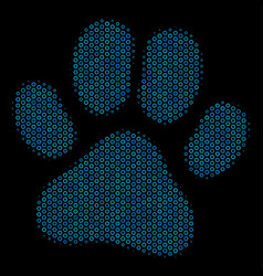 paw footprint collage icon of halftone bubbles vector image