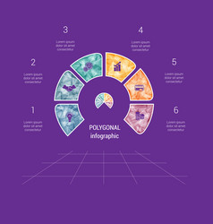 polygonal semicircle template infographic 6 vector image