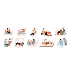 pregnant women preparing for childbirth at vector image