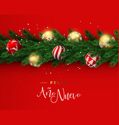 red christmas wreath ornament banner in spanish vector image
