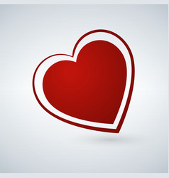 red heart on white background valentine card vector image