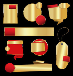 retro vintage golden labels and banners collection vector image