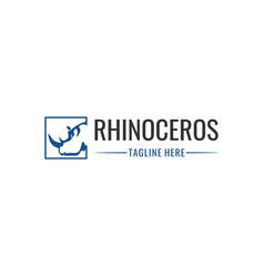 Rhino square animal silhouette logo vector