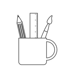 Ruler pencil and paint brush inside mug design vector