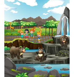 Scene with animals and kids at zoo vector