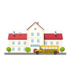 school bus and building with trees isolated on vector image
