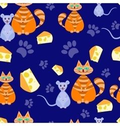 Seamless pattern cat and mice vector