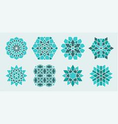 Set arabic geometric decorative elements vector