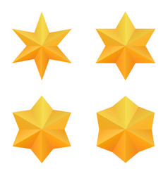 set four golden six point stars vector image