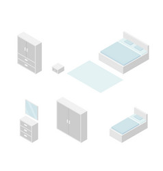 set of bedroom furniture isometric drawing vector image