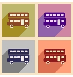 Set of flat icons with long shadow double decker vector image