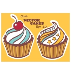 Set of sweet and tasty cakes Desserts can be used vector