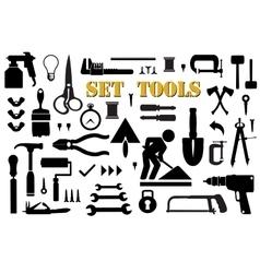 Set retro building tools vector image