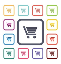 shopping cart flat icons set vector image