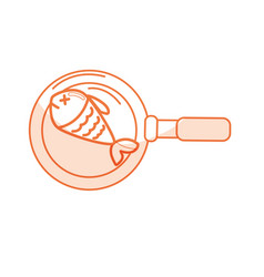 Silhouette delicious fried fish inside skillet pan vector