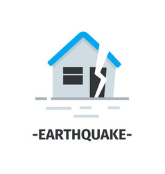 simple flat icon with house destroyed by vector image