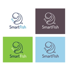 Smart fish logo template set vector image vector image
