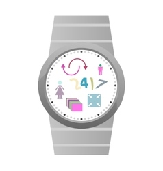 Smart watch with flat icons vector image