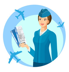 Smiling stewardess with air passage in hands promo vector