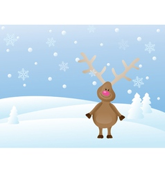 snowy christmas landscape with deer vector image
