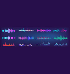 Sound waves equalizer colorful collection vector