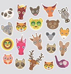Sticker set of funny animals muzzle vector image