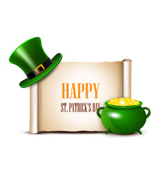 stpatrick day background with scroll paper vector image