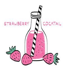 Strawberry coctail in interesting cup vector