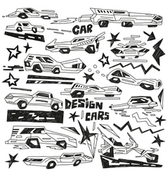 super cars - doodles vector image
