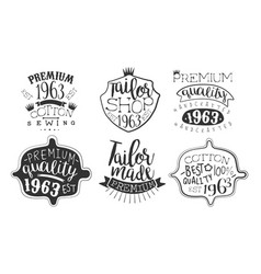 Tailor shop premium retro labels set best quality vector