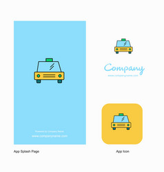 taxi company logo app icon and splash page design vector image